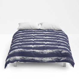 Irregular Stripes Dark Blue Comforters