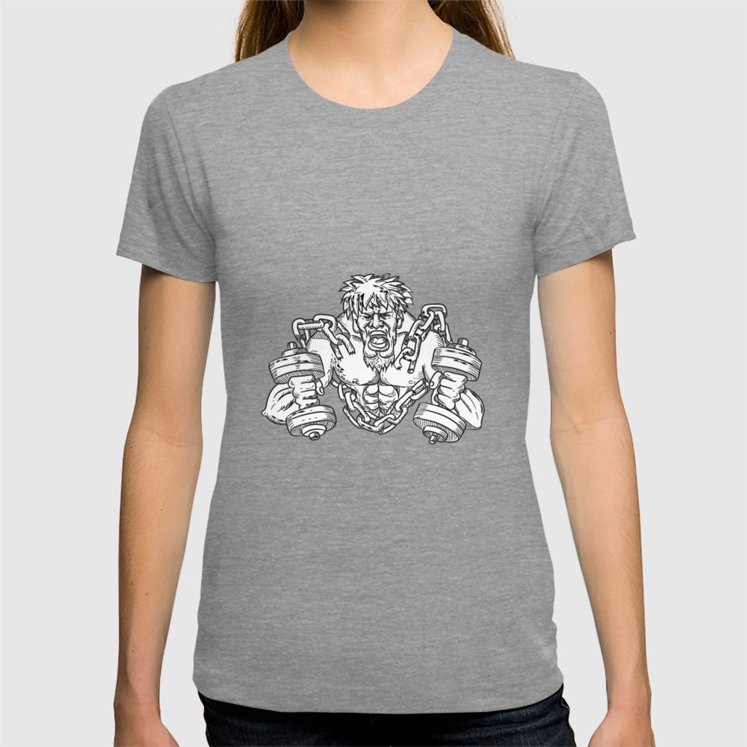 Buffed Athlete Dumbbells Breaking Free From Chains Drawing T-shirt