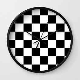 Contemporary Black & White Gingham Pattern Wall Clock