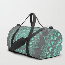 Boho turquoise watercolor floral mandala on grey cement concrete Duffle Bag