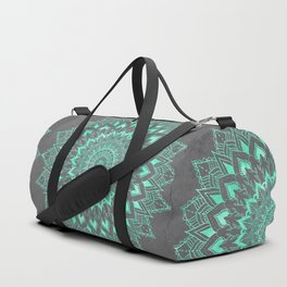 Boho turquoise watercolor floral mandala on grey cement concrete Duffle Bag