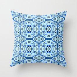 Geometric Mid Century Modern Blues Print Throw Pillow