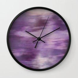 Purple Fusion Illustration Digital Camo Watercolor Blend Fluid Art Wall Clock