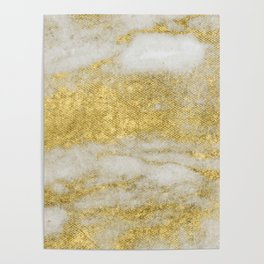 Marble - Glittery Gold Marble and White Pattern Poster