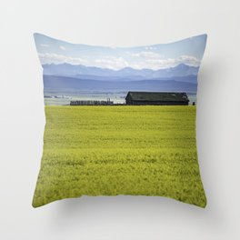 Little House on The Canola Field Throw Pillow