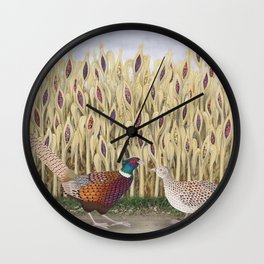 ring necked pheasants and corn Wall Clock
