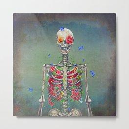 Blooming skeleton on the grunge background  Metal Print
