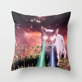 Mega Space Cat Rising Throw Pillow