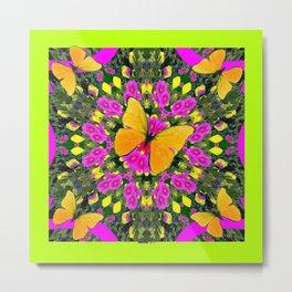 Modern Yellow Butterfly Chartreuse-Green Pattern Pink Art Metal Print
