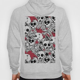 Seamles pattern. Crazy punk rock abstract background. Skulls,stars, rock symbols Hoody
