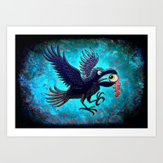 Crow Stealing an Eye Art Print