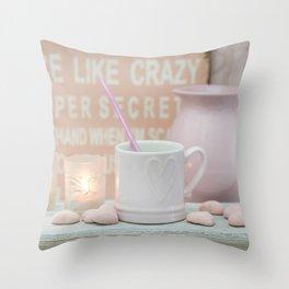 Pastel Pink Scandi-chic Still Life Throw Pillow