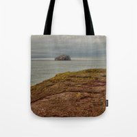 bass Tote Bags featuring Bass Rock by Best Light Images