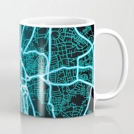 Coventry, England, Blue, White, Neon, Glow, City, Map Coffee Mug