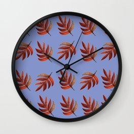 Leaf pattern blue Wall Clock