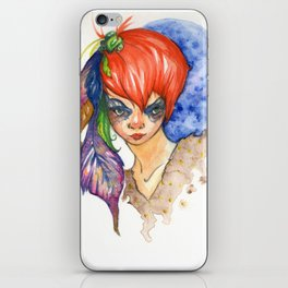 red head and feathers iPhone Skin