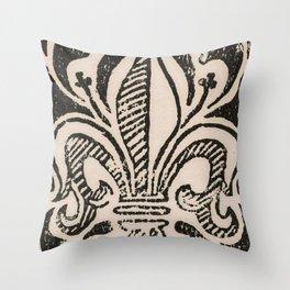 Distressed Fleur-de-Lis Throw Pillow
