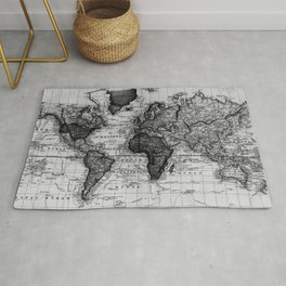 Vintage Map of The World (1833) White & Black Rug
