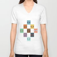 eevee V-neck T-shirts featuring Eyes of Eevee by Casey Sawyer