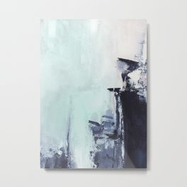 Mint navy abstract Metal Print