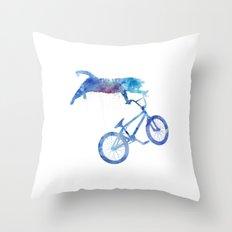 BMX Cat Throw Pillow