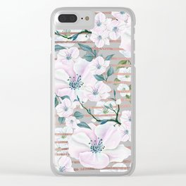 White faux rose gold stripes blush pink watercolor floral Clear iPhone Case