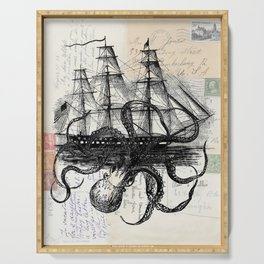 Octopus Kraken Attacking Ship on Old Postcards Serving Tray