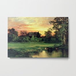 East Hampton, The Hamptons, Long Island Pastoral Sunset landscape painting by Thomas Moran Metal Print
