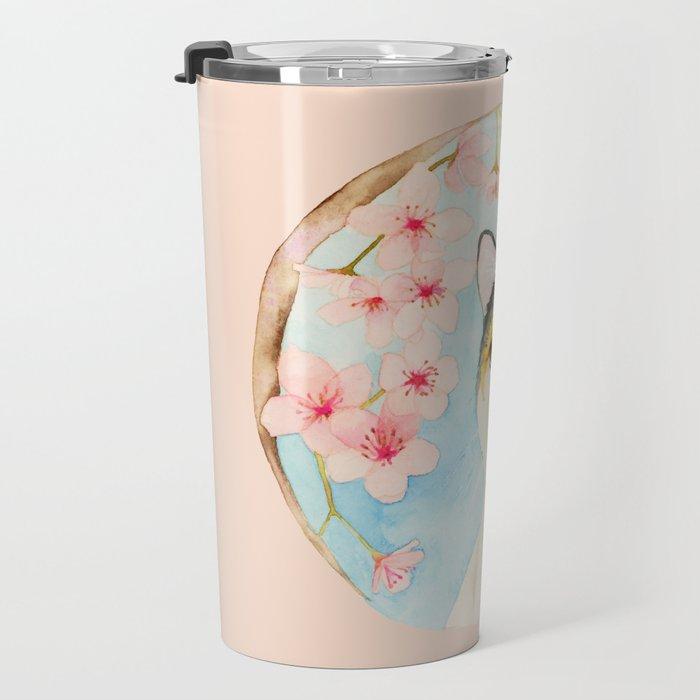 """""""Hanami"""" - Calico Cat and Cherry Blossom Travel Mug"""