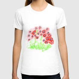 blue poppies T-shirt