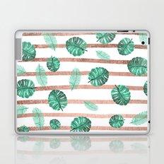 Modern exotic summer  watercolor tropical leaf rose gold stripes  Laptop & iPad Skin