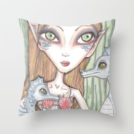 Mermaid and seahorse Throw Pillow