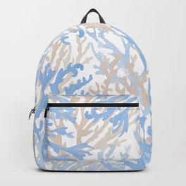 Modern hand painted blue brown watercolor reef coral floral Backpack