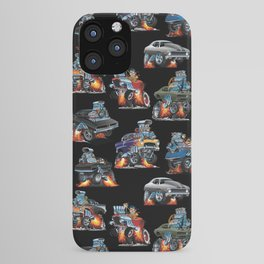 Car Crazy Classic Hot Rod Muscle Cars Cartoons Seamless Pattern iPhone Case