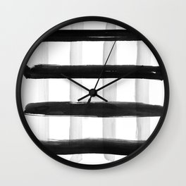 Black and White Brush Strokes Wall Clock