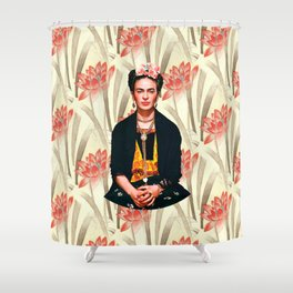 Frida Kahlo Queen of Flowers Shower Curtain
