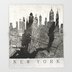New York Skyline + Map #3 Throw Blanket