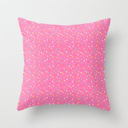 Do-Nut Confetti Sprinkles Pink Throw Pillow