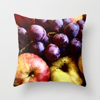 fruits Throw Pillows featuring FRUITS by MehrFarbeimLeben