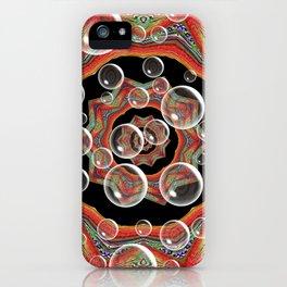 Black Orange Bubbles iPhone Case
