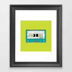 Cassette Tape // lime green and turquoise // large Framed Art Print