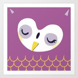 Little sleepy owl Art Print