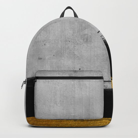 Black and Gold grunge stripes on modern grey concrete abstract backround I- Stripe- Striped Backpack