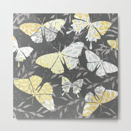 Floral Print, Butterfly Art, Charcoal, Gray and Yellow Metal Print