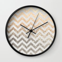 GOLD & SILVER CHEVRON Wall Clock