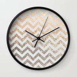 GOLD & SILVER CHEVRON Wall Clock