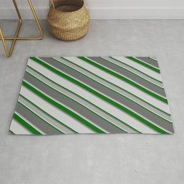 Dim Grey, Dark Grey, Light Gray, and Dark Green Colored Stripes/Lines Pattern Rug