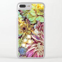 Bright Garden Succulents Clear iPhone Case