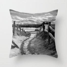 Beach Path (mono) Throw Pillow