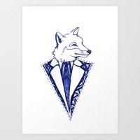 mr fox Art Prints featuring MR. FOX by Sagara Hirsch